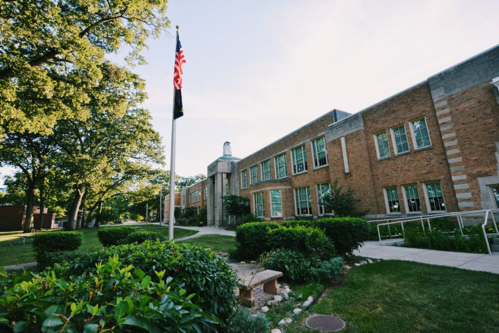 Outside of school building