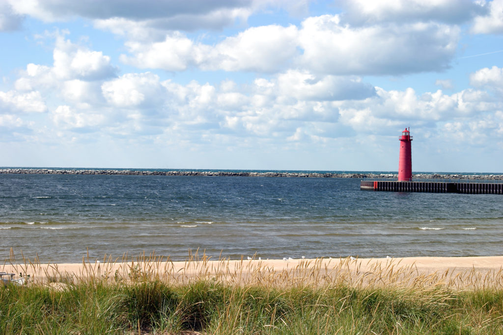 Shoreline and Lighthouse at Pere Marquette