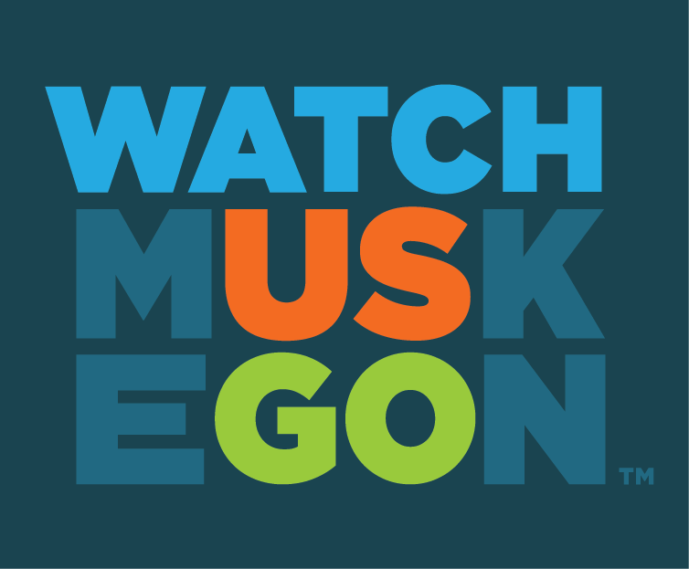 Watch Muskegon colored logo stacked with dark blue background