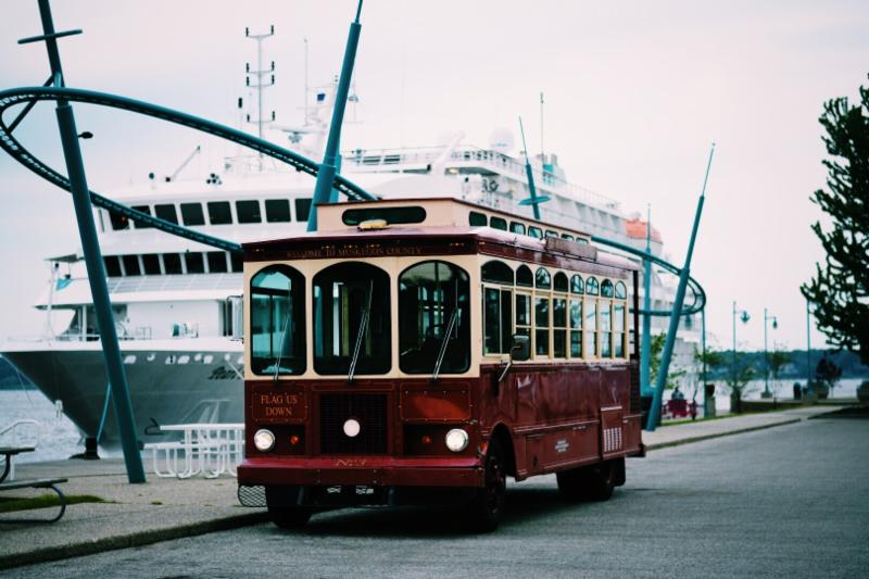 Trolley bus at Heritage Landing